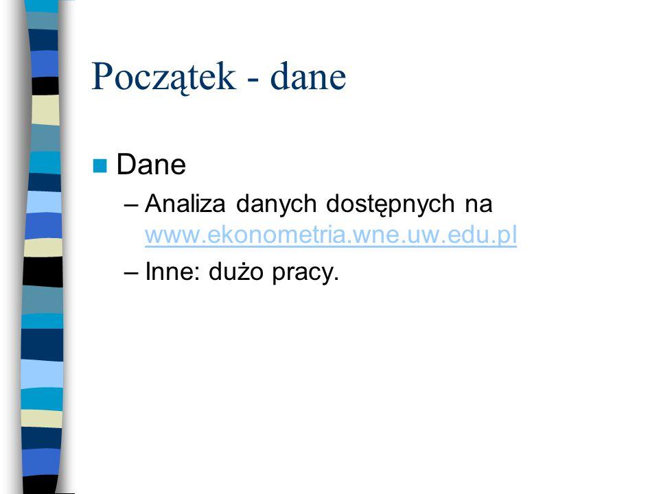 Początek - dane Dane –Analiza danych dostępnych na www.ekonometria.wne.uw.edu.pl www.ekonometria.wne.uw.edu.pl –Inne: dużo pracy.