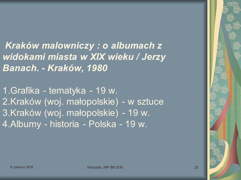 9 czerwca 2010 Warsztaty JHP BN 201022 Kraków malowniczy : o albumach z widokami miasta w XIX wieku / Jerzy Banach.