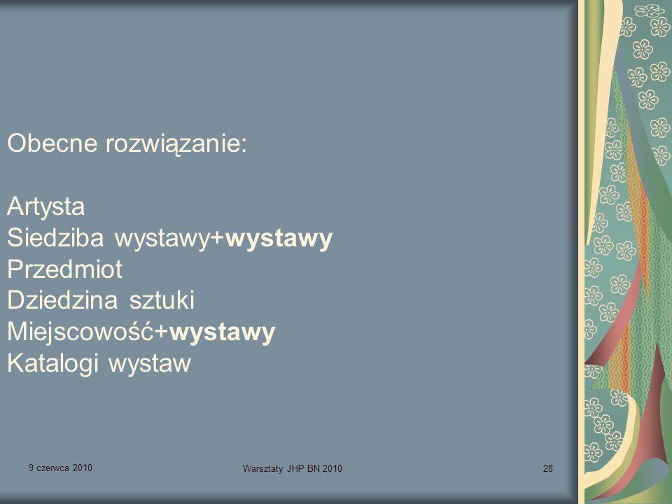 9 czerwca 2010 Warsztaty JHP BN 201028 Obecne rozwiązanie: Artysta Siedziba wystawy+wystawy Przedmiot Dziedzina sztuki Miejscowość+wystawy Katalogi wystaw