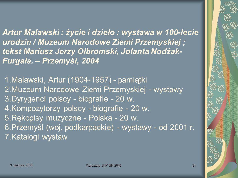 9 czerwca 2010 Warsztaty JHP BN 201031 Artur Malawski : życie i dzieło : wystawa w 100-lecie urodzin / Muzeum Narodowe Ziemi Przemyskiej ; tekst Mariusz Jerzy Olbromski, Jolanta Nodżak- Furgała.
