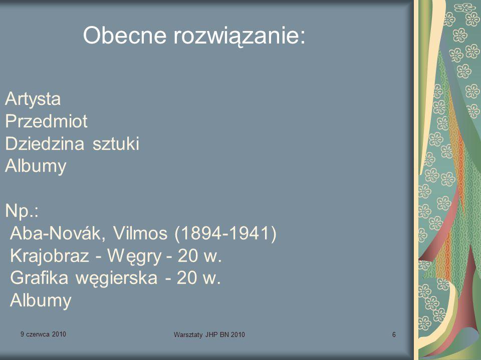 9 czerwca 2010 Warsztaty JHP BN 20106 Artysta Przedmiot Dziedzina sztuki Albumy Np.: Aba-Novák, Vilmos (1894-1941) Krajobraz - Węgry - 20 w.