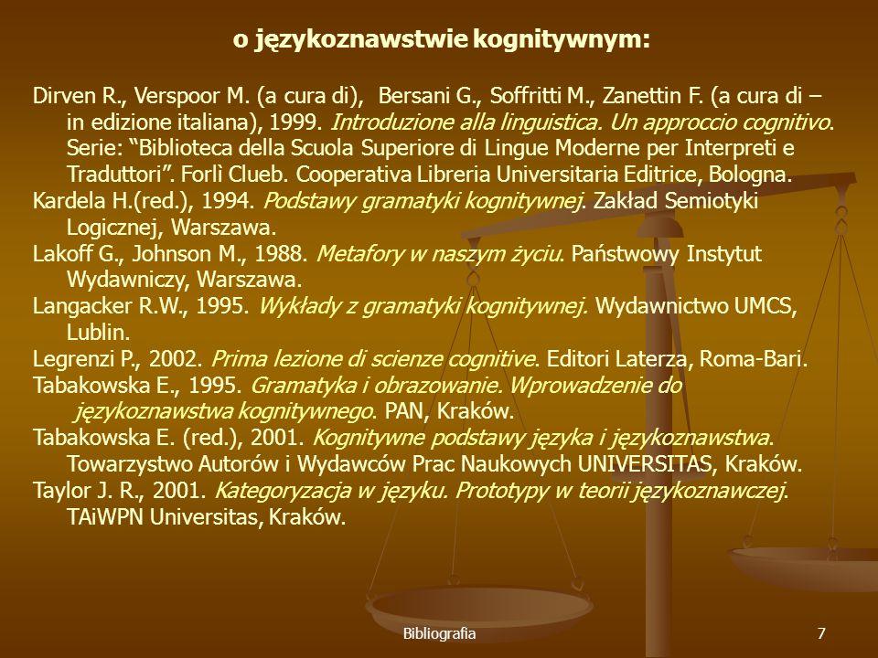 Bibliografia7 o językoznawstwie kognitywnym: Dirven R., Verspoor M.