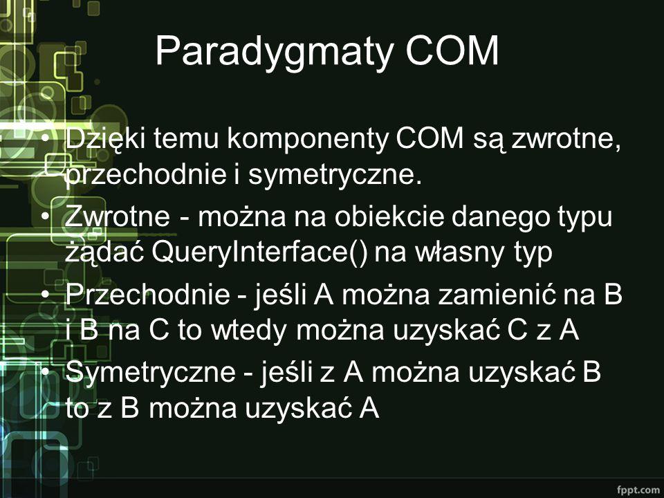 Paradygmaty COM Dzięki temu komponenty COM są zwrotne, przechodnie i symetryczne. Zwrotne - można na obiekcie danego typu żądać QueryInterface() na wł