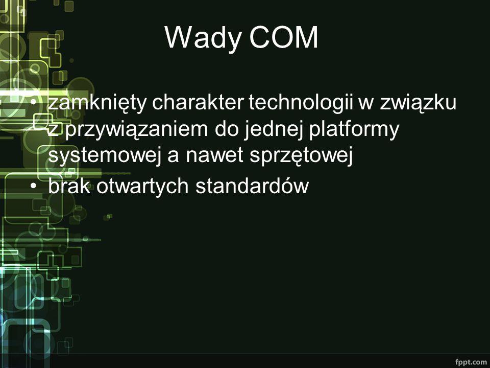 Wady COM zamknięty charakter technologii w związku z przywiązaniem do jednej platformy systemowej a nawet sprzętowej brak otwartych standardów