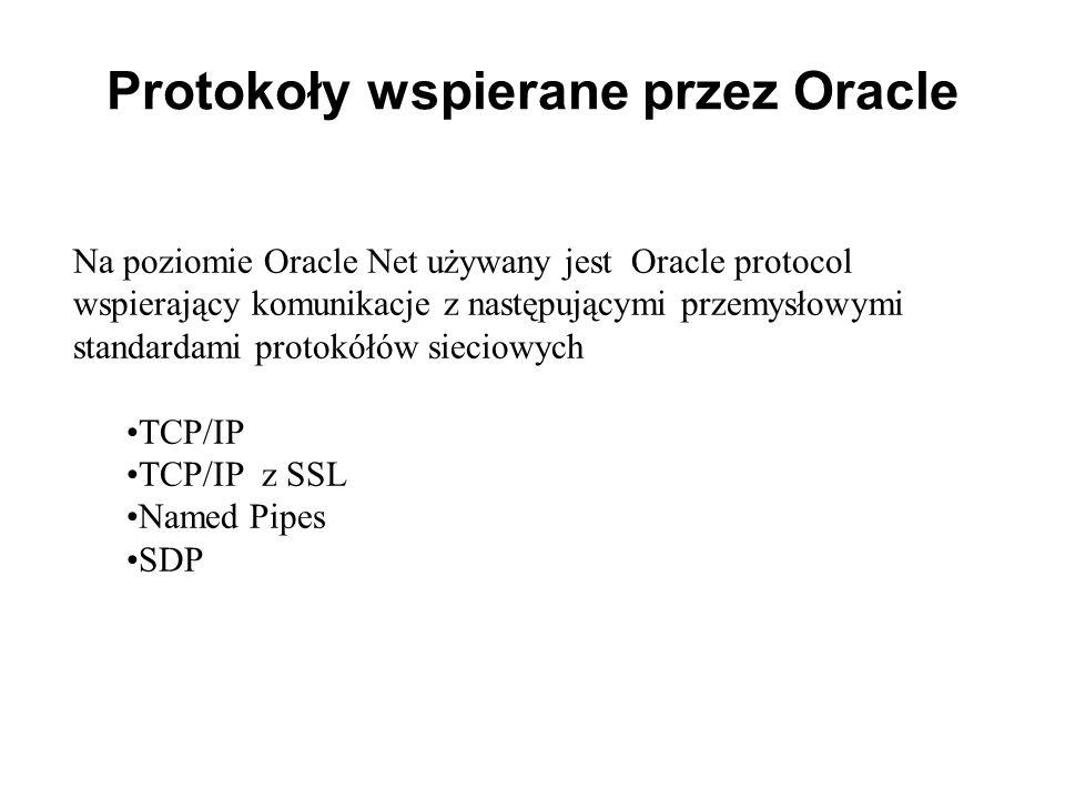 Protokoły wspierane przez Oracle Na poziomie Oracle Net używany jest Oracle protocol wspierający komunikacje z następującymi przemysłowymi standardami