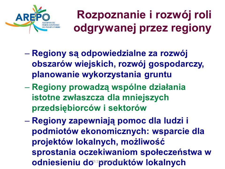 Rozpoznanie i rozwój roli odgrywanej przez regiony –Regiony są odpowiedzialne za rozwój obszarów wiejskich, rozwój gospodarczy, planowanie wykorzystania gruntu –Regiony prowadzą wspólne działania istotne zwłaszcza dla mniejszych przedsiębiorców i sektorów –Regiony zapewniają pomoc dla ludzi i podmiotów ekonomicznych: wsparcie dla projektów lokalnych, możliwość sprostania oczekiwaniom społeczeństwa w odniesieniu do produktów lokalnych 29.11.2011 Warsaw, Poland
