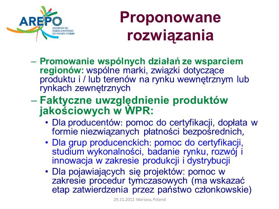 """Wdrożenie faktycznej instytucjonalnej promocji na poziomie europejskim Promowanie logo mechanizmów dotyczących jakości Określenie komunikowanych wartości : bezpieczeństwo żywności, trwałość, różnorodność (""""Smak Europy jest programem, ale nie może stanowić pojedynczego przekazu) Jasność przekazu odnośnie pochodzenia produkcji: na produktach rolnych, na głównych surowcach produktów przetworzonych, z krajów lub regionów UE / lub spoza UE Wzmocnienie ochrony międzynarodowej = otwarcie nowych rynków zewnętrznych 29.11.2011 Warsaw, Poland"""