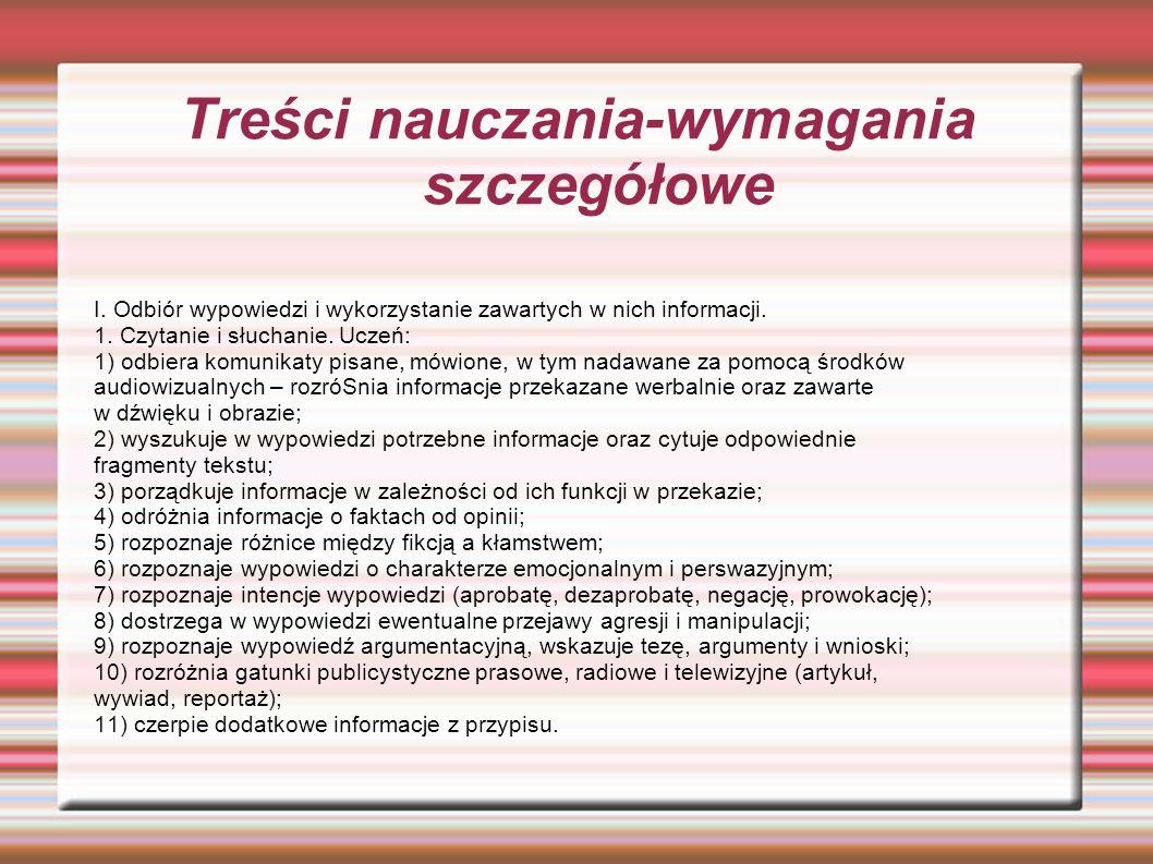 Treści nauczania-wymagania szczegółowe I.
