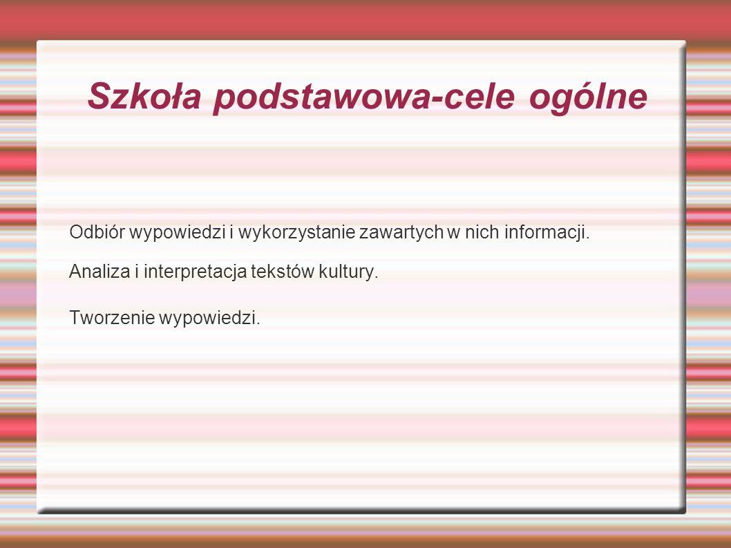 Treści nauczania I.Odbiór wypowiedzi i wykorzystanie zawartych w nich informacji.