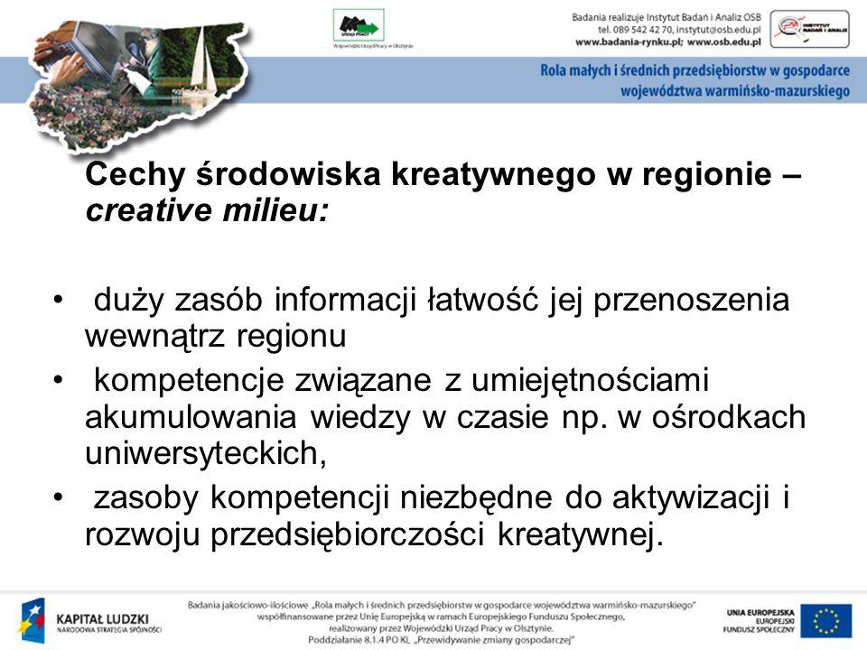 Cechy środowiska kreatywnego w regionie – creative milieu: duży zasób informacji łatwość jej przenoszenia wewnątrz regionu kompetencje związane z umiejętnościami akumulowania wiedzy w czasie np.