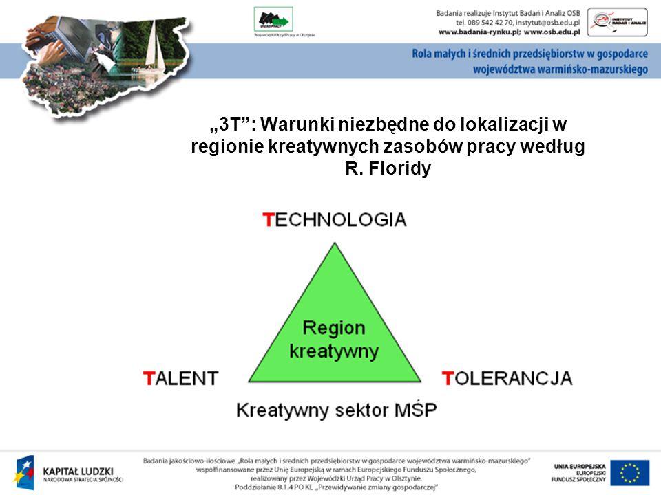 """""""3T : Warunki niezbędne do lokalizacji w regionie kreatywnych zasobów pracy według R. Floridy"""