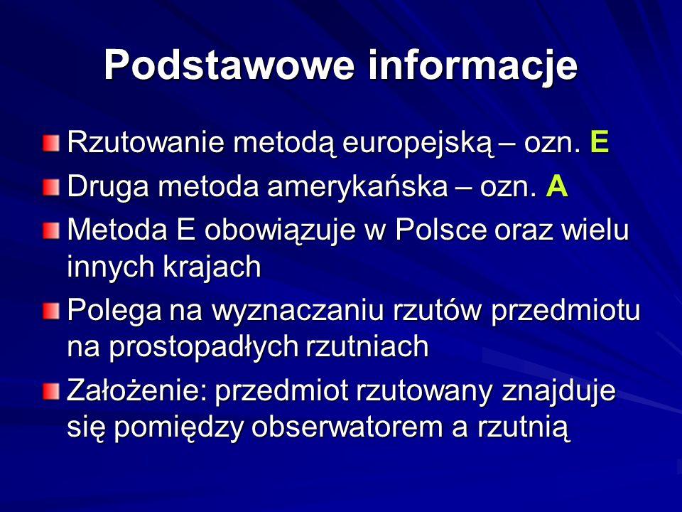 Podstawowe informacje Rzutowanie metodą europejską – ozn.