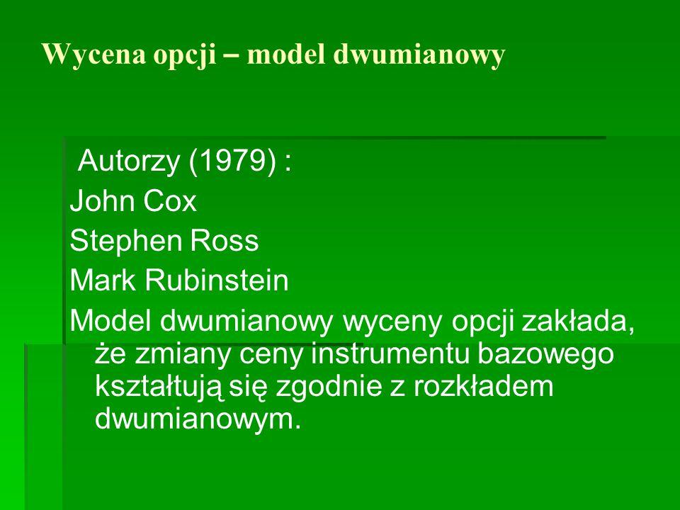 Wycena opcji – model dwumianowy Autorzy (1979) : John Cox Stephen Ross Mark Rubinstein Model dwumianowy wyceny opcji zakłada, że zmiany ceny instrumen