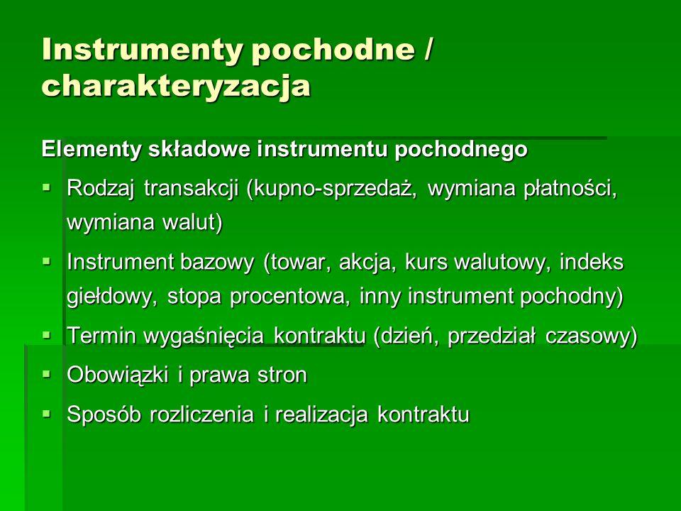 Instrumenty pochodne / charakteryzacja Elementy składowe instrumentu pochodnego  Rodzaj transakcji (kupno-sprzedaż, wymiana płatności, wymiana walut)