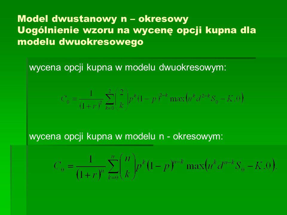 Model dwustanowy n – okresowy Uogólnienie wzoru na wycenę opcji kupna dla modelu dwuokresowego wycena opcji kupna w modelu dwuokresowym: wycena opcji
