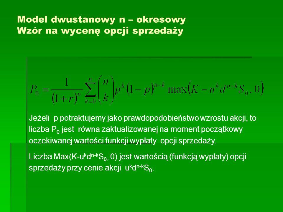 Model dwustanowy n – okresowy Wzór na wycenę opcji sprzedaży Jeżeli p potraktujemy jako prawdopodobieństwo wzrostu akcji, to liczba P 0 jest równa zak