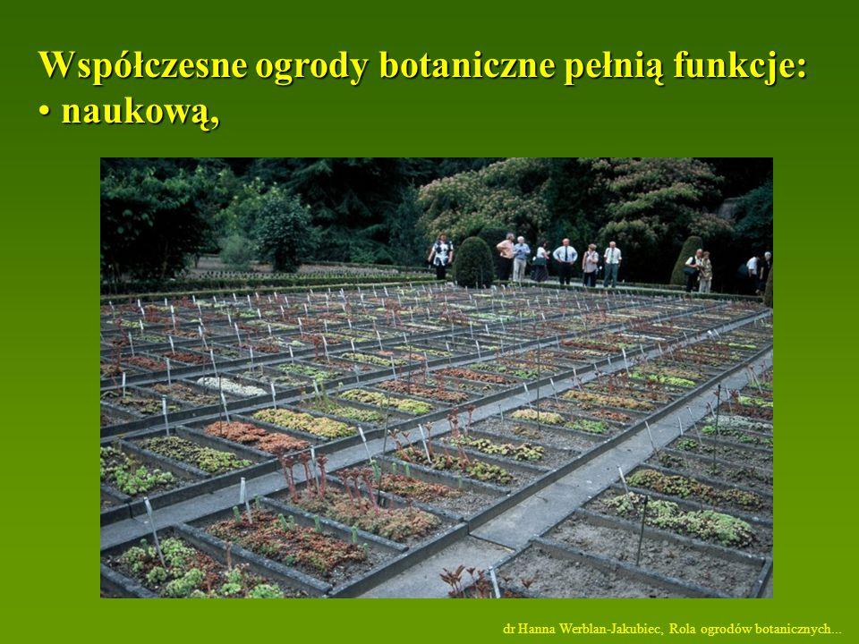 dr Hanna Werblan-Jakubiec, Rola ogrodów botanicznych...