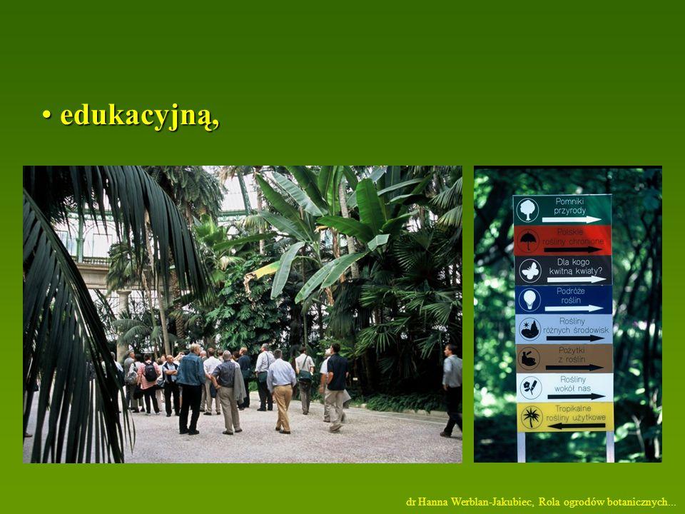 edukacyjną, edukacyjną, dr Hanna Werblan-Jakubiec, Rola ogrodów botanicznych...