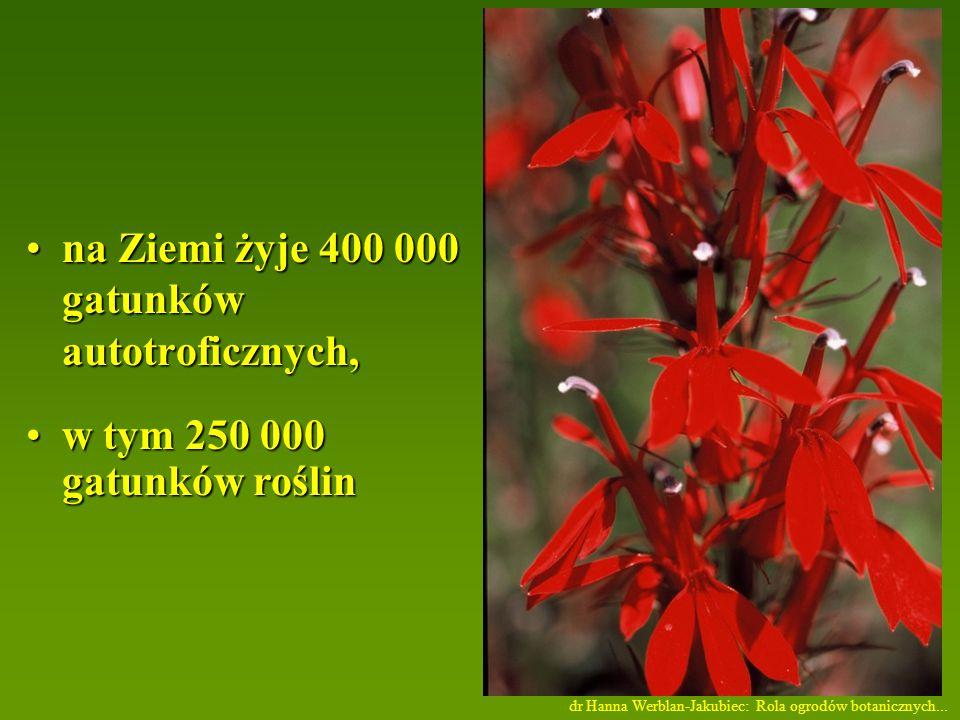 na Ziemi żyje 400 000 gatunków autotroficznych,na Ziemi żyje 400 000 gatunków autotroficznych, w tym 250 000 gatunków roślinw tym 250 000 gatunków roślin dr Hanna Werblan-Jakubiec: Rola ogrodów botanicznych...