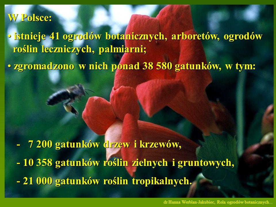 W Polsce: istnieje 41 ogrodów botanicznych, arboretów, ogrodów istnieje 41 ogrodów botanicznych, arboretów, ogrodów roślin leczniczych, palmiarni; roślin leczniczych, palmiarni; zgromadzono w nich ponad 38 580 gatunków, w tym: zgromadzono w nich ponad 38 580 gatunków, w tym: - 7 200 gatunków drzew i krzewów, - 10 358 gatunków roślin zielnych i gruntowych, - 21 000 gatunków roślin tropikalnych.