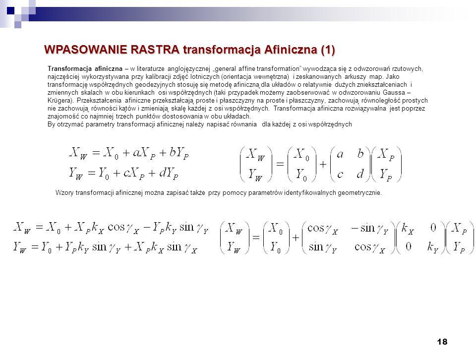 """18 WPASOWANIE RASTRA transformacja Afiniczna (1) Transformacja afiniczna – w literaturze anglojęzycznej """"general affine transformation"""" wywodząca się"""