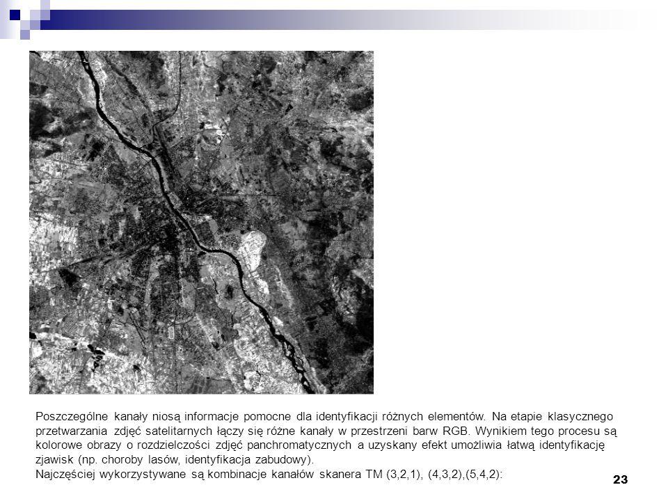 23 KANAŁ4 Poszczególne kanały niosą informacje pomocne dla identyfikacji różnych elementów. Na etapie klasycznego przetwarzania zdjęć satelitarnych łą