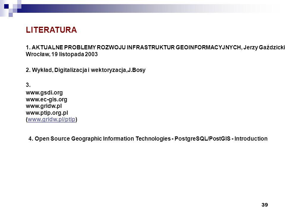 39 LITERATURA 1. AKTUALNE PROBLEMY ROZWOJU INFRASTRUKTUR GEOINFORMACYJNYCH, Jerzy Gaździcki Wrocław, 19 listopada 2003 2. Wykład, Digitalizacja i wekt