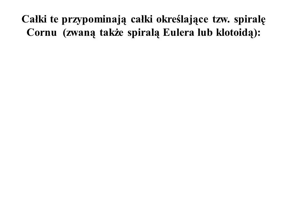 Całki te przypominają całki określające tzw. spiralę Cornu (zwaną także spiralą Eulera lub klotoidą):