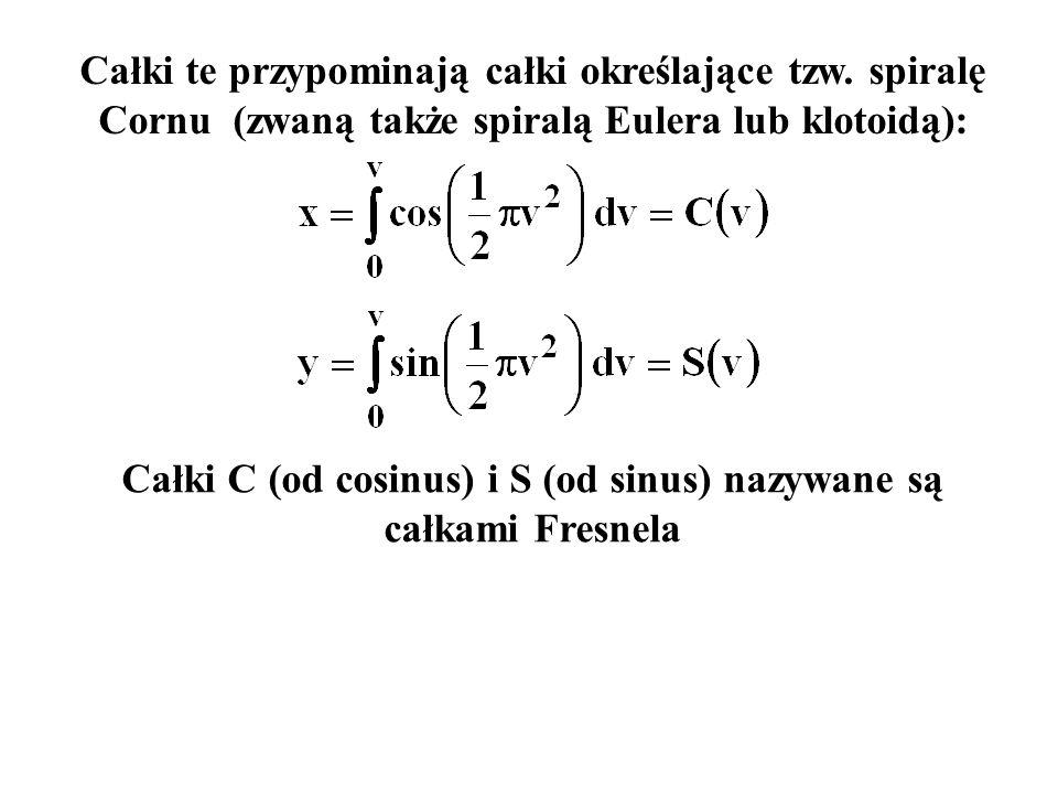 Całki C (od cosinus) i S (od sinus) nazywane są całkami Fresnela