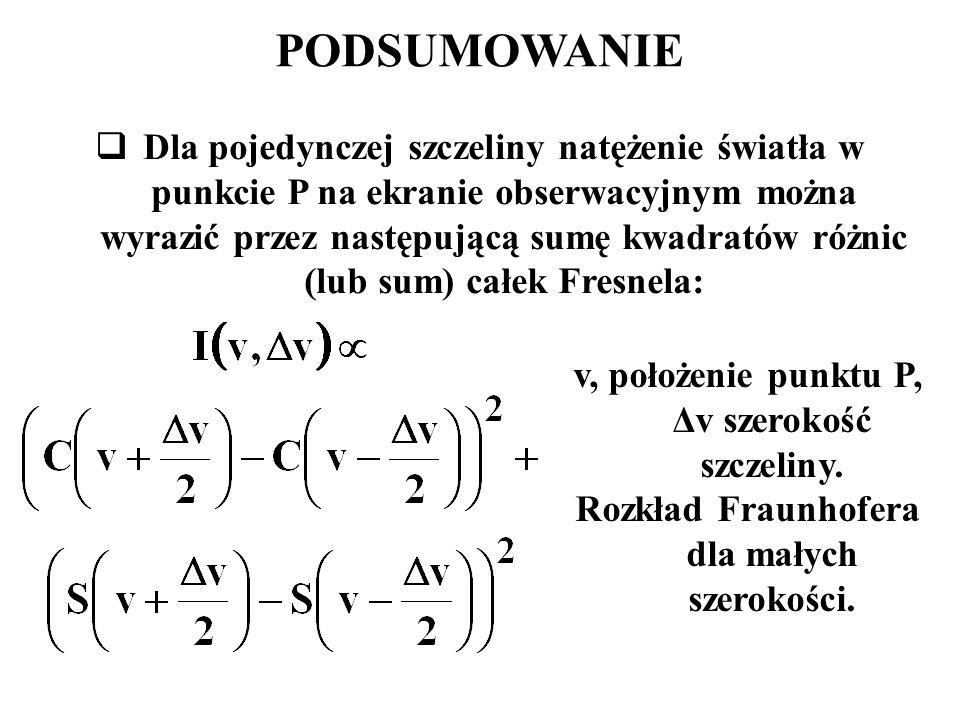 PODSUMOWANIE  Dla pojedynczej szczeliny natężenie światła w punkcie P na ekranie obserwacyjnym można wyrazić przez następującą sumę kwadratów różnic