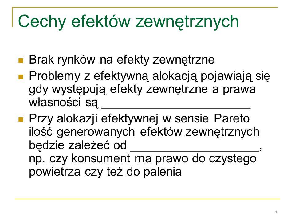 4 Cechy efektόw zewnętrznych Brak rynkόw na efekty zewnętrzne Problemy z efektywną alokacją pojawiają się gdy występują efekty zewnętrzne a prawa własności są ______________________ Przy alokazji efektywnej w sensie Pareto ilość generowanych efektόw zewnętrznych będzie zależeć od ___________________, np.