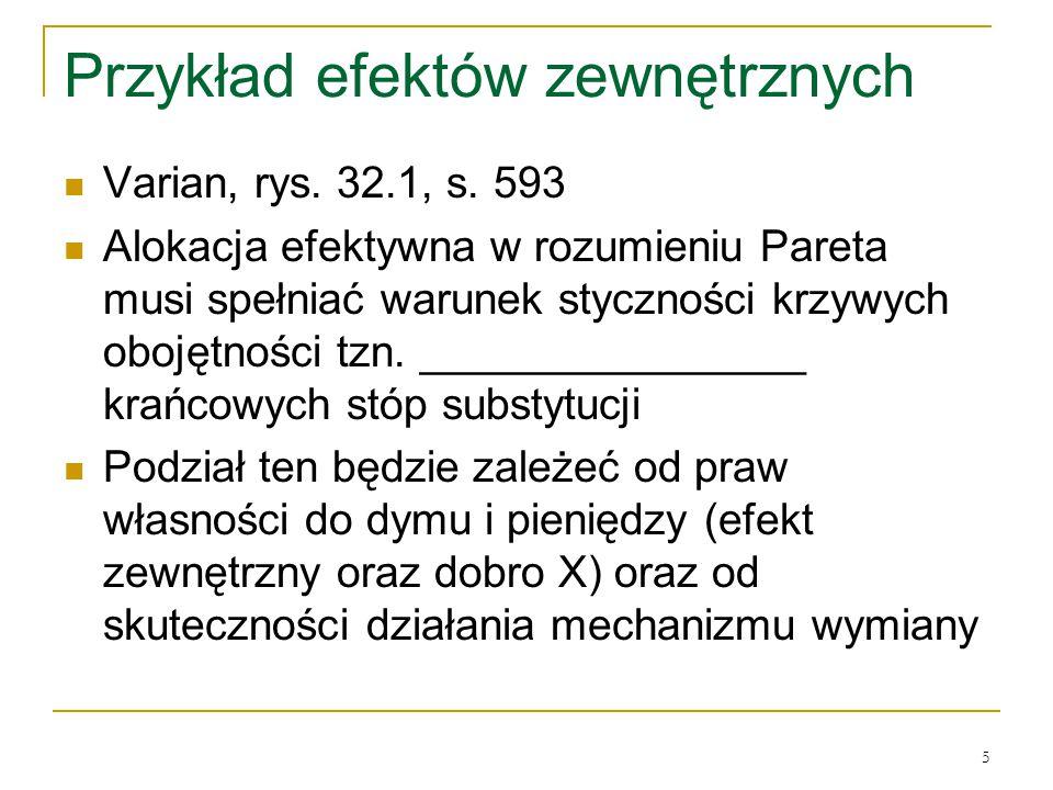 5 Przykład efektόw zewnętrznych Varian, rys. 32.1, s. 593 Alokacja efektywna w rozumieniu Pareta musi spełniać warunek styczności krzywych obojętności