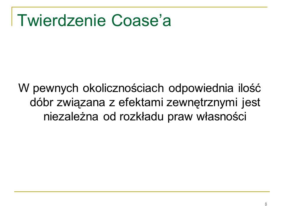 8 Twierdzenie Coase'a W pewnych okolicznościach odpowiednia ilość dόbr związana z efektami zewnętrznymi jest niezależna od rozkładu praw własności