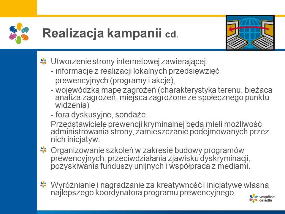Realizacja kampanii cd. Utworzenie strony internetowej zawierającej: - informacje z realizacji lokalnych przedsięwzięć prewencyjnych (programy i akcje