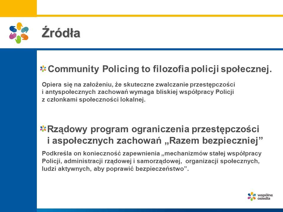 Filozofia policji społecznej - Community Policing wyznacza cztery zasadnicze elementy: - - organizowanie prewencji kryminalnej na bazie wspólnot lokalnych, - - zastąpienie patroli zmotoryzowanych przez piesze i podejmowanie przez nie poza działaniem reaktywnym, także działań nie związanych z bezpośrednim niebezpieczeństwem, - - zwiększenie odpowiedzialności przed wspólnotą lokalną za podejmowane działania, - decentralizacja kierowania w policji pozwalająca na elastyczne dostosowanie metod pracy policyjnej do potrzeb lokalnych.
