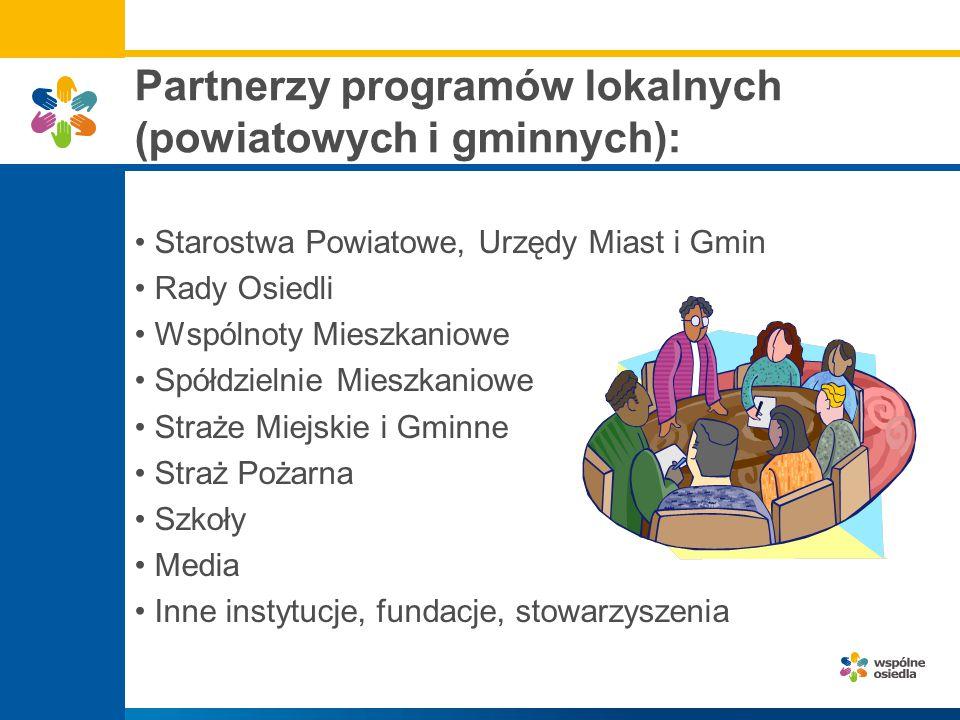 Partnerzy programów lokalnych (powiatowych i gminnych): Starostwa Powiatowe, Urzędy Miast i Gmin Rady Osiedli Wspólnoty Mieszkaniowe Spółdzielnie Mies