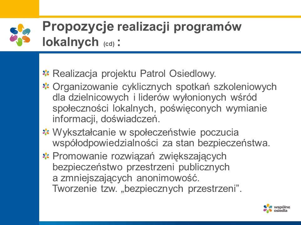 Propozycje realizacji programów lokalnych (cd) : Realizacja projektu Patrol Osiedlowy. Organizowanie cyklicznych spotkań szkoleniowych dla dzielnicowy