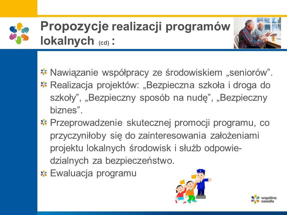 """Propozycje realizacji programów lokalnych (cd) : Nawiązanie współpracy ze środowiskiem """"seniorów"""". Realizacja projektów: """"Bezpieczna szkoła i droga do"""