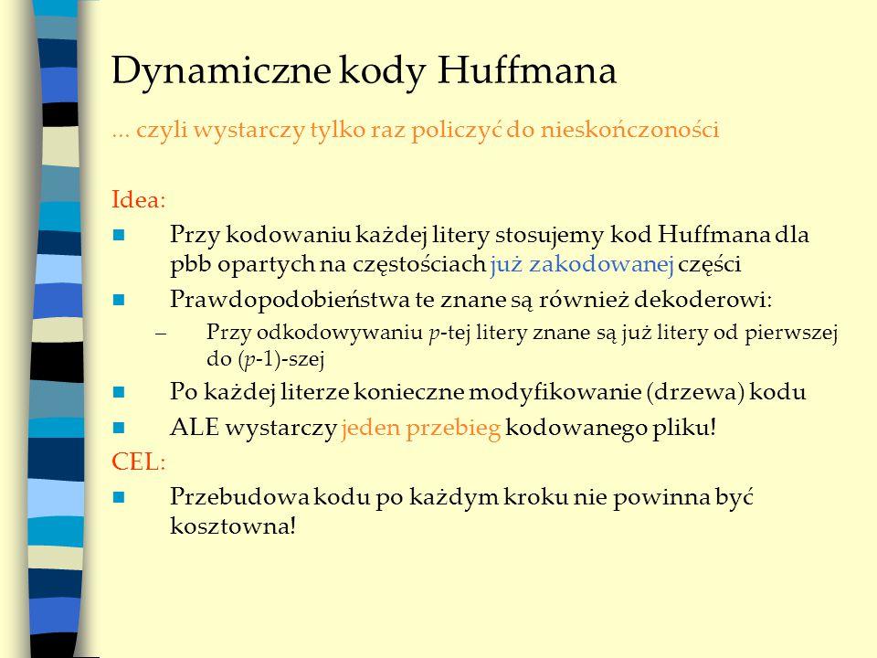 Dynamiczne kody Huffmana... czyli wystarczy tylko raz policzyć do nieskończoności Idea: Przy kodowaniu każdej litery stosujemy kod Huffmana dla pbb op