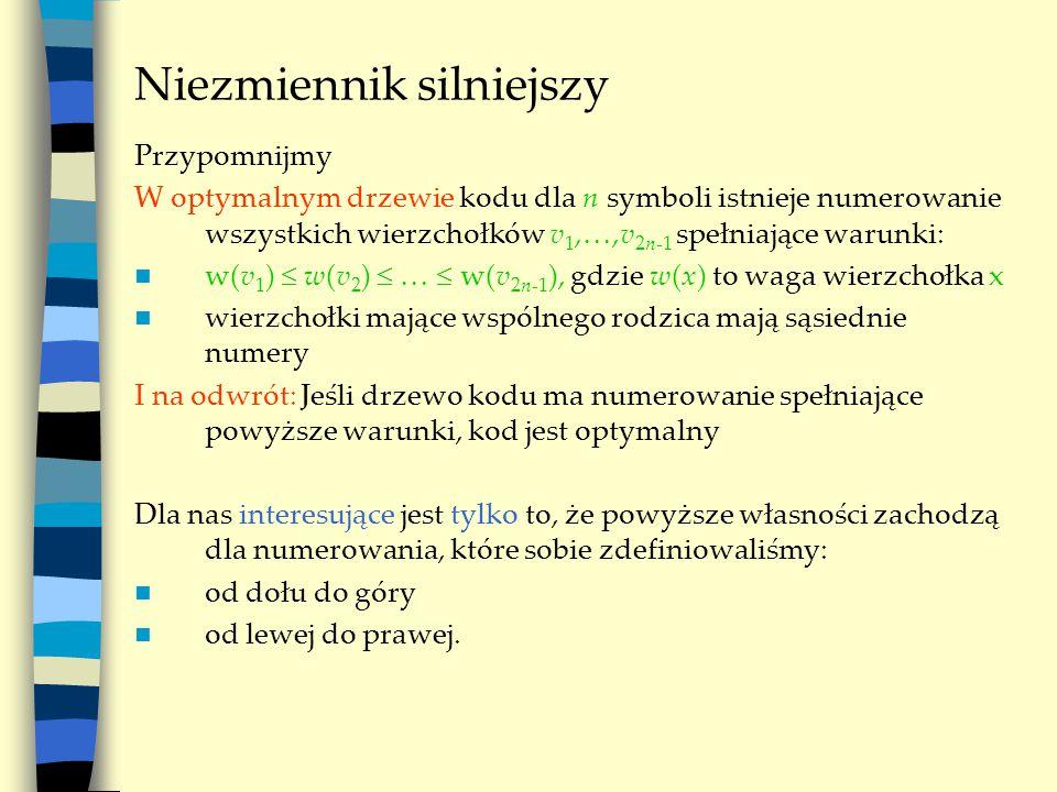 Niezmiennik silniejszy Przypomnijmy W optymalnym drzewie kodu dla n symboli istnieje numerowanie wszystkich wierzchołków v 1, ,v 2n-1 spełniające war