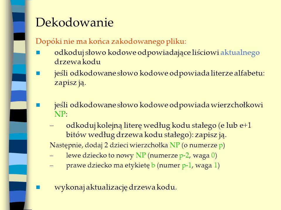 Dekodowanie Dopóki nie ma końca zakodowanego pliku: odkoduj słowo kodowe odpowiadające liściowi aktualnego drzewa kodu jeśli odkodowane słowo kodowe o