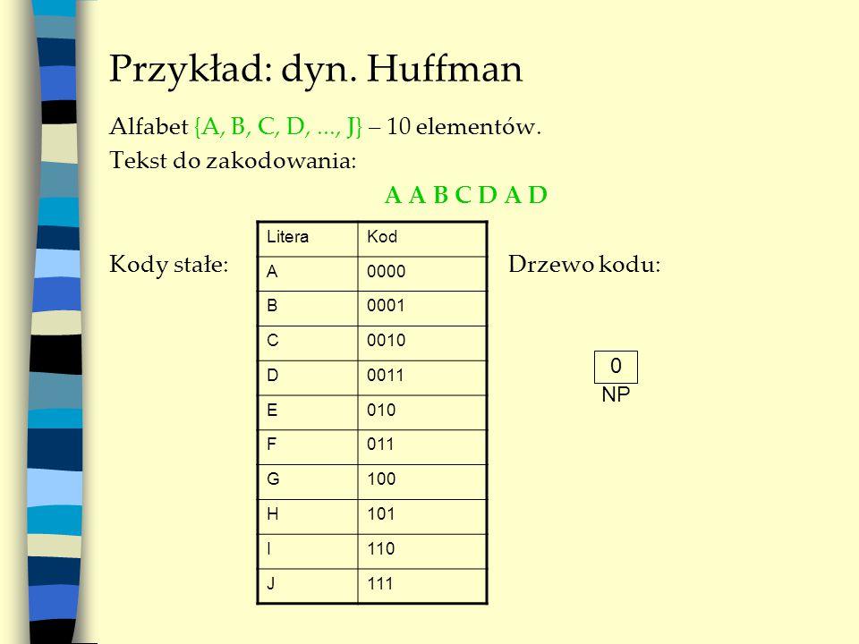 Przykład: dyn. Huffman Alfabet {A, B, C, D,..., J} – 10 elementów. Tekst do zakodowania: A A B C D A D Kody stałe: Drzewo kodu: LiteraKod A0000 B0001