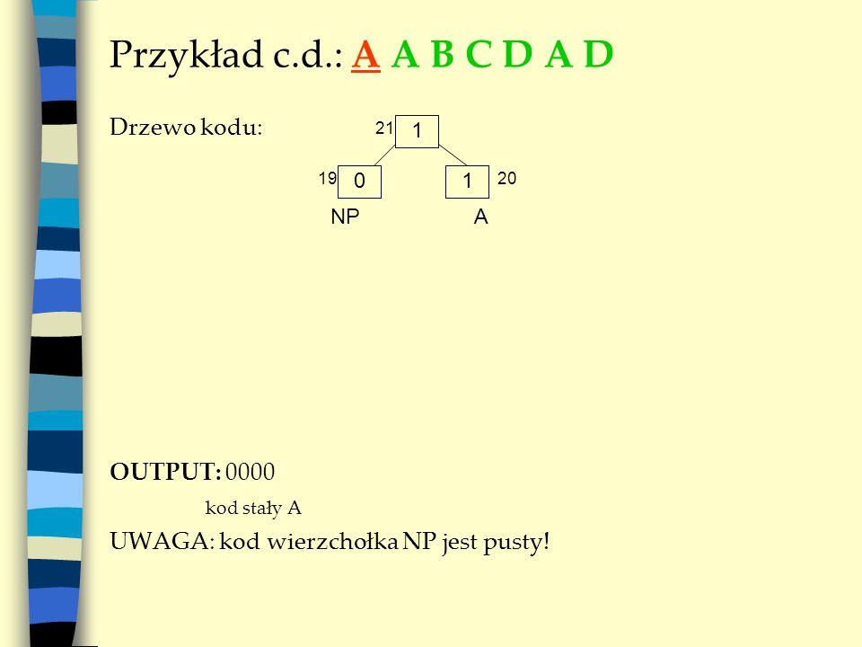Przykład c.d.: A A B C D A D Drzewo kodu: OUTPUT: 0000 kod stały A UWAGA: kod wierzchołka NP jest pusty! 1 A 01 NP 21 1920