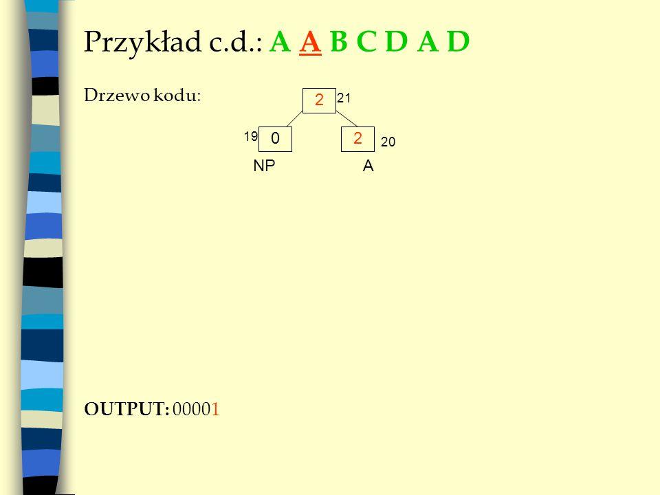 Przykład c.d.: A A B C D A D Drzewo kodu: OUTPUT: 00001 2 A 02 NP 19 20 21