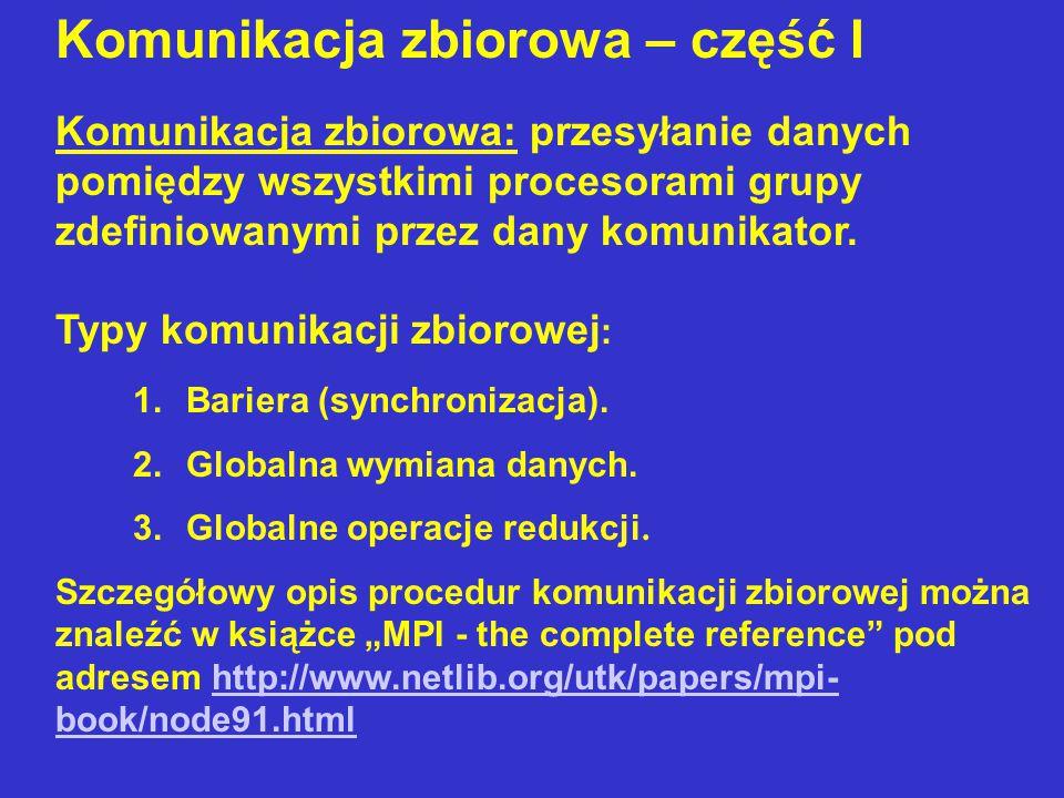 Składnia procedur MPI_SCATTER, MPI_ALLGATHER i MPI_ALLTOALL w C i Fortranie 77 MPI_ScatterMPI_Scatter(void* sendbuf, int sendcount, MPI_Datatype sendtype, void* recvbuf, int recvcount, MPI_Datatype recvtype, int root, MPI_Comm comm) MPI_SCATTERMPI_SCATTER(SENDBUF, SENDCOUNT, SENDTYPE, RECVBUF, RECVCOUNT, RECVTYPE, ROOT, COMM, IERROR) SENDBUF(*), RECVBUF(*) INTEGER SENDCOUNT, SENDTYPE, RECVCOUNT, RECVTYPE, ROOT, COMM, IERROR MPI_AllgatherMPI_Allgather(void* sendbuf, int sendcount, MPI_Datatype sendtype, void* recvbuf, int recvcount, MPI_Datatype recvtype, MPI_Comm comm) MPI_ALLGATHERMPI_ALLGATHER(SENDBUF, SENDCOUNT, SENDTYPE, RECVBUF, RECVCOUNT, RECVTYPE, COMM, IERROR) SENDBUF(*), RECVBUF(*) INTEGER SENDCOUNT, SENDTYPE, RECVCOUNT, RECVTYPE, COMM, IERROR MPI_AlltoallMPI_Alltoall(void* sendbuf, int sendcount, MPI_Datatype sendtype, void* recvbuf, int recvcount, MPI_Datatype recvtype, MPI_Comm comm) MPI_ALLTOALLMPI_ALLTOALL(SENDBUF, SENDCOUNT, SENDTYPE, RECVBUF, RECVCOUNT, RECVTYPE, COMM, IERROR) SENDBUF(*), RECVBUF(*) INTEGER SENDCOUNT, SENDTYPE, RECVCOUNT, RECVTYPE, COMM, IERROR
