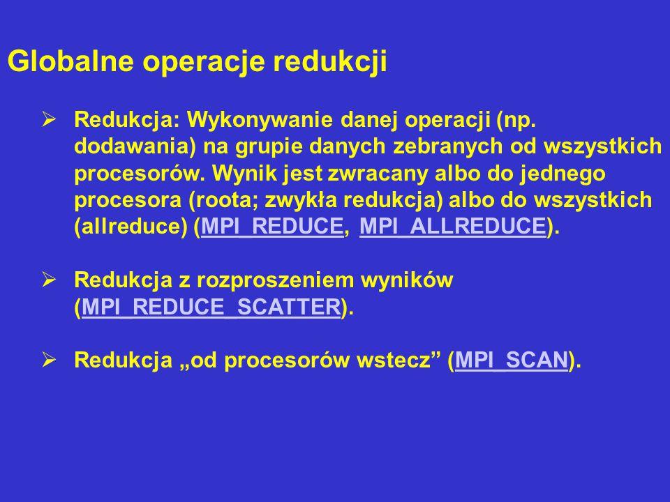 Globalne operacje redukcji  Redukcja: Wykonywanie danej operacji (np.