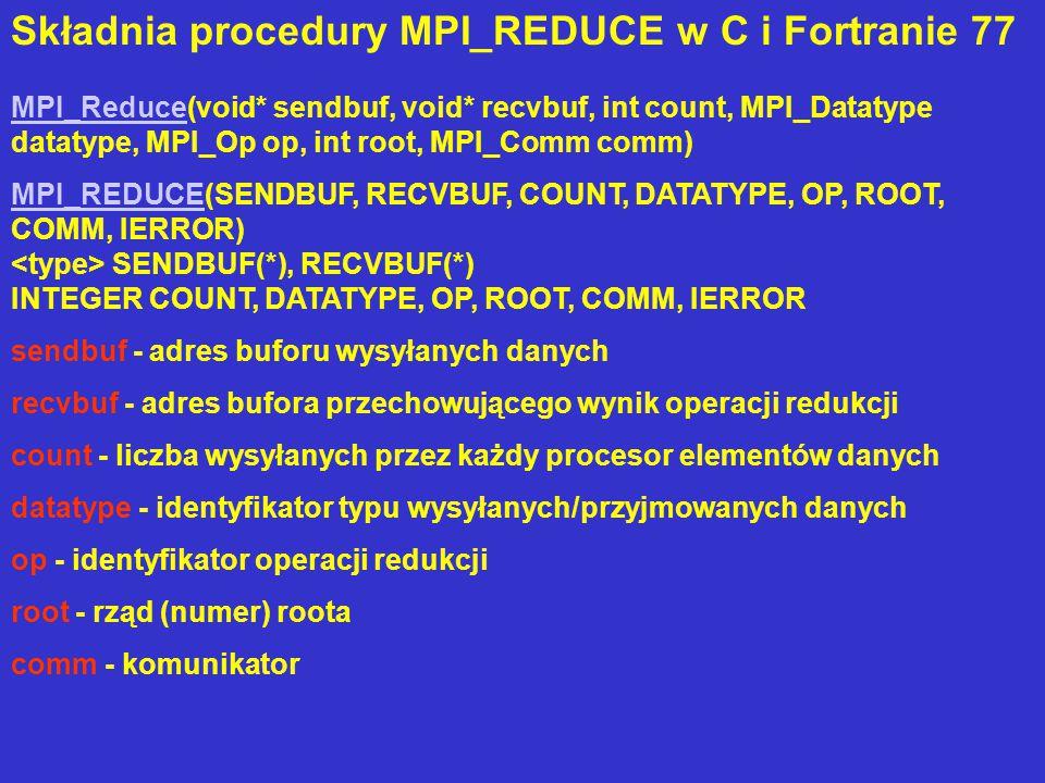 Składnia procedury MPI_REDUCE w C i Fortranie 77 MPI_ReduceMPI_Reduce(void* sendbuf, void* recvbuf, int count, MPI_Datatype datatype, MPI_Op op, int root, MPI_Comm comm) MPI_REDUCEMPI_REDUCE(SENDBUF, RECVBUF, COUNT, DATATYPE, OP, ROOT, COMM, IERROR) SENDBUF(*), RECVBUF(*) INTEGER COUNT, DATATYPE, OP, ROOT, COMM, IERROR sendbuf - adres buforu wysyłanych danych recvbuf - adres bufora przechowującego wynik operacji redukcji count - liczba wysyłanych przez każdy procesor elementów danych datatype - identyfikator typu wysyłanych/przyjmowanych danych op - identyfikator operacji redukcji root - rząd (numer) roota comm - komunikator