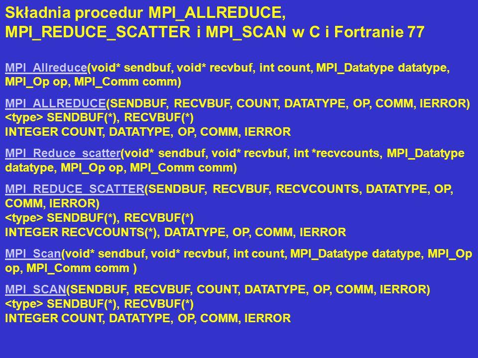 Składnia procedur MPI_ALLREDUCE, MPI_REDUCE_SCATTER i MPI_SCAN w C i Fortranie 77 MPI_AllreduceMPI_Allreduce(void* sendbuf, void* recvbuf, int count, MPI_Datatype datatype, MPI_Op op, MPI_Comm comm) MPI_ALLREDUCEMPI_ALLREDUCE(SENDBUF, RECVBUF, COUNT, DATATYPE, OP, COMM, IERROR) SENDBUF(*), RECVBUF(*) INTEGER COUNT, DATATYPE, OP, COMM, IERROR MPI_Reduce_scatterMPI_Reduce_scatter(void* sendbuf, void* recvbuf, int *recvcounts, MPI_Datatype datatype, MPI_Op op, MPI_Comm comm) MPI_REDUCE_SCATTERMPI_REDUCE_SCATTER(SENDBUF, RECVBUF, RECVCOUNTS, DATATYPE, OP, COMM, IERROR) SENDBUF(*), RECVBUF(*) INTEGER RECVCOUNTS(*), DATATYPE, OP, COMM, IERROR MPI_ScanMPI_Scan(void* sendbuf, void* recvbuf, int count, MPI_Datatype datatype, MPI_Op op, MPI_Comm comm ) MPI_SCANMPI_SCAN(SENDBUF, RECVBUF, COUNT, DATATYPE, OP, COMM, IERROR) SENDBUF(*), RECVBUF(*) INTEGER COUNT, DATATYPE, OP, COMM, IERROR