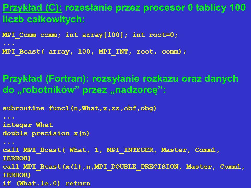Składnia procedur MPI_GATHER w C i Fortranie 77: MPI_GatherMPI_Gather(void* sendbuf, int sendcount, MPI_Datatype sendtype, void* recvbuf, int recvcount, MPI_Datatype recvtype, int root, MPI_Comm comm) MPI_GATHERMPI_GATHER(SENDBUF, SENDCOUNT, SENDTYPE, RECVBUF, RECVCOUNT, RECVTYPE, ROOT, COMM, IERROR) SENDBUF(*), RECVBUF(*) INTEGER SENDCOUNT, SENDTYPE, RECVCOUNT, RECVTYPE, ROOT, COMM, IERROR sendbuf - początkowy adres bufora transmitowanych danych recvbuf - początkowy adres bufora przyjmowanych danych sendcount, sendcounts - liczba wysyłanych elementów danych (w przypadku MPI_Gatherv jest to tablica) recvcount, recvcounts - liczba przyjmowanych elementów danych (w przypadku MPI_Gatherv jest to tablica) sendtype - identyfikator typu wysyłanych danych (w sensie MPI) recvtype - identyfikator typu przyjmowanych danych (w sensie MPI) root - rząd (numer) procesora, który przyjmuje dane comm - komunikator.