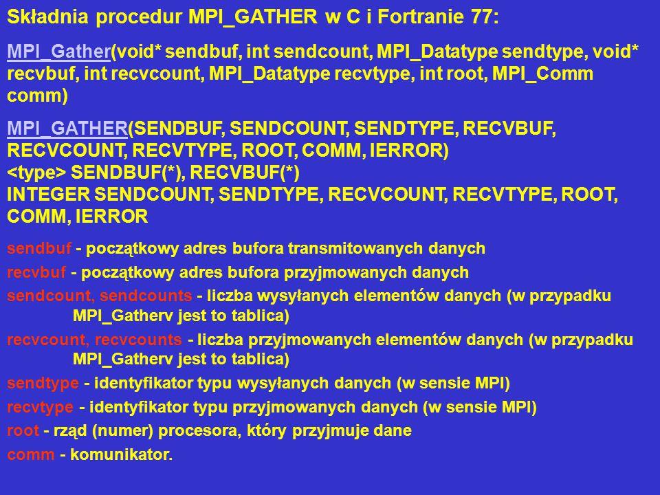Efekt działania MPI_Gather dla układu n procesorów można przedstawić jako wykonanie instrukcji MPI_Send przez każdy procesor (łącznie z rootem) a następnie przyjęcie przez root danych od kolejnych procesorów (łącznie z sobą samym) w ten sposób, że dane zawarte w buforze procesora pierwszego są lokowane na początku bufora przyjmującego, dane pochodzące od procesora drugiego są w buforze przyjmującym przesunięte o RECVCOUNT, itd.: